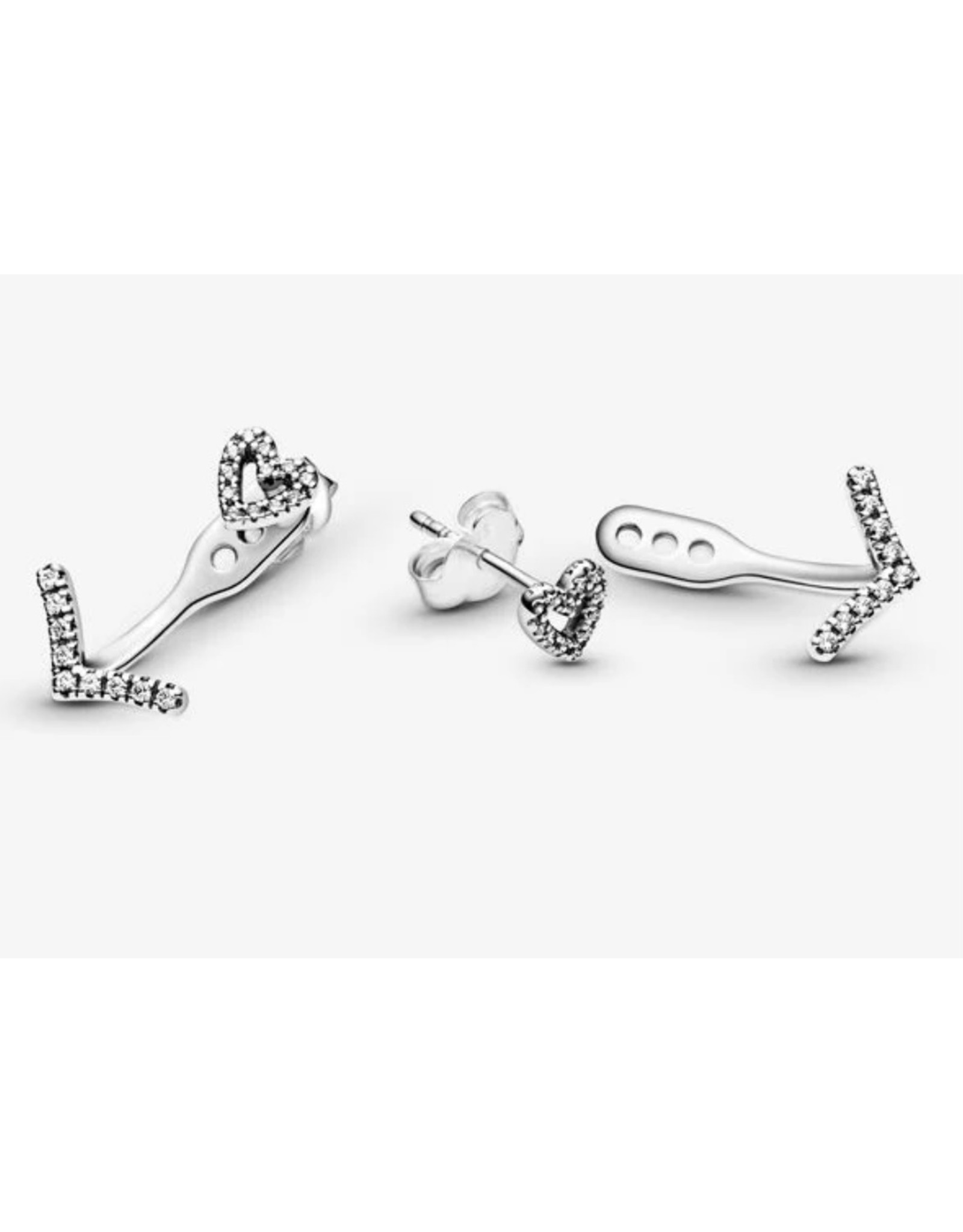Pandora Pandora Earrings,299280C01, Sparkling Wishbone Heart Clear CZ