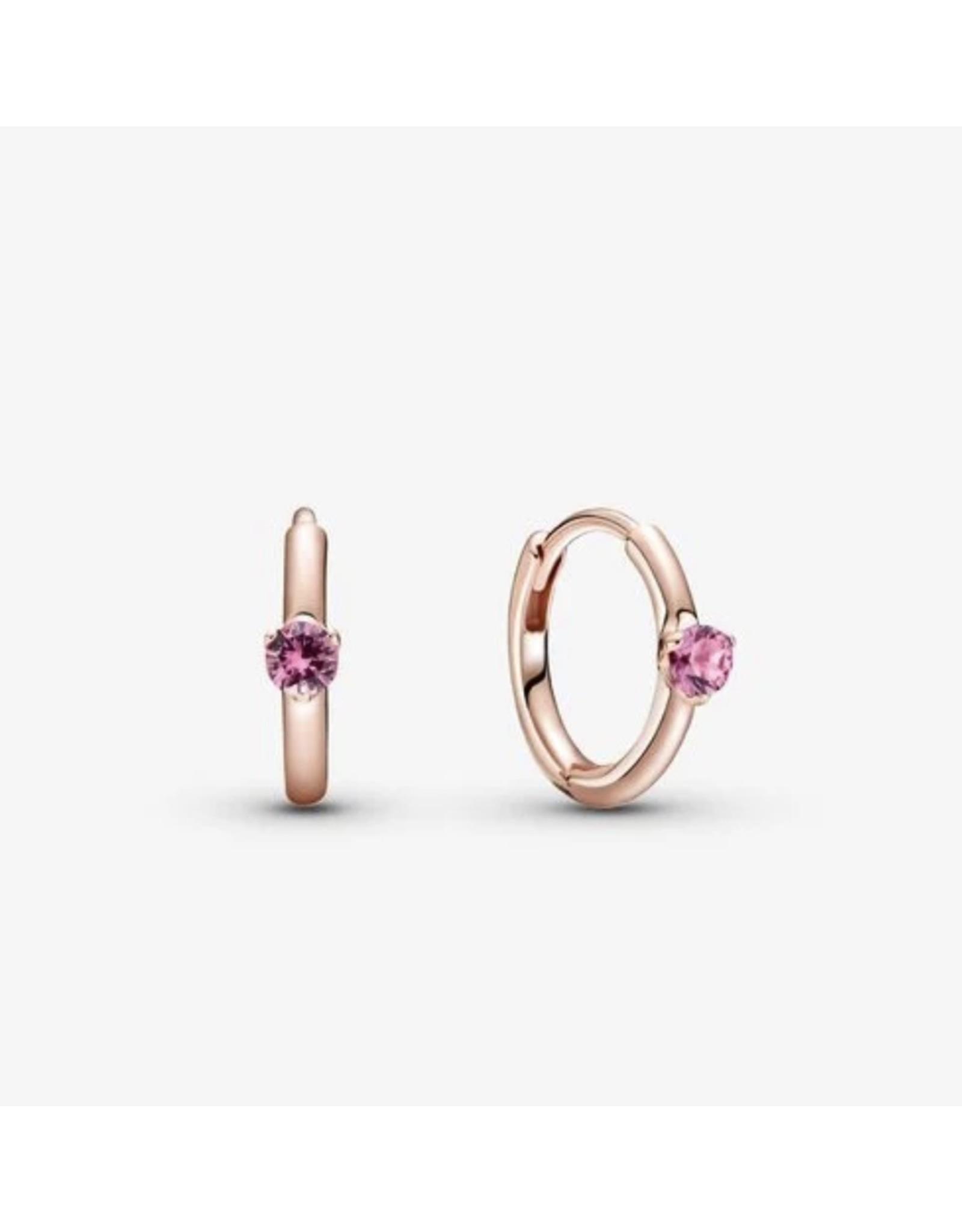 Pandora Pandora Earrings,289304C03, Solitaire Huggie Hoops, Pink Crystal, Rose Gold