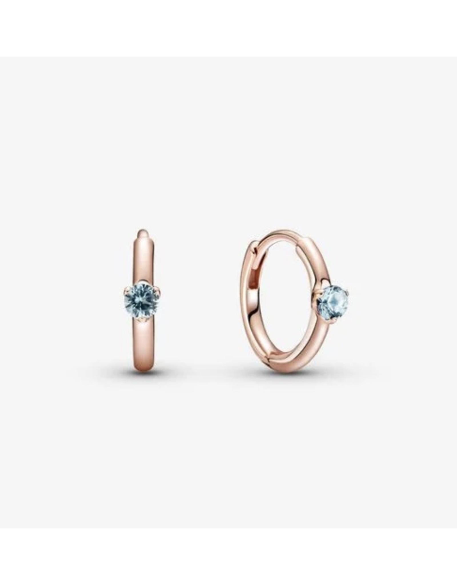 Pandora Pandora Earrings,289304C02, Solitaire Huggie Hoops, Blue Crystal