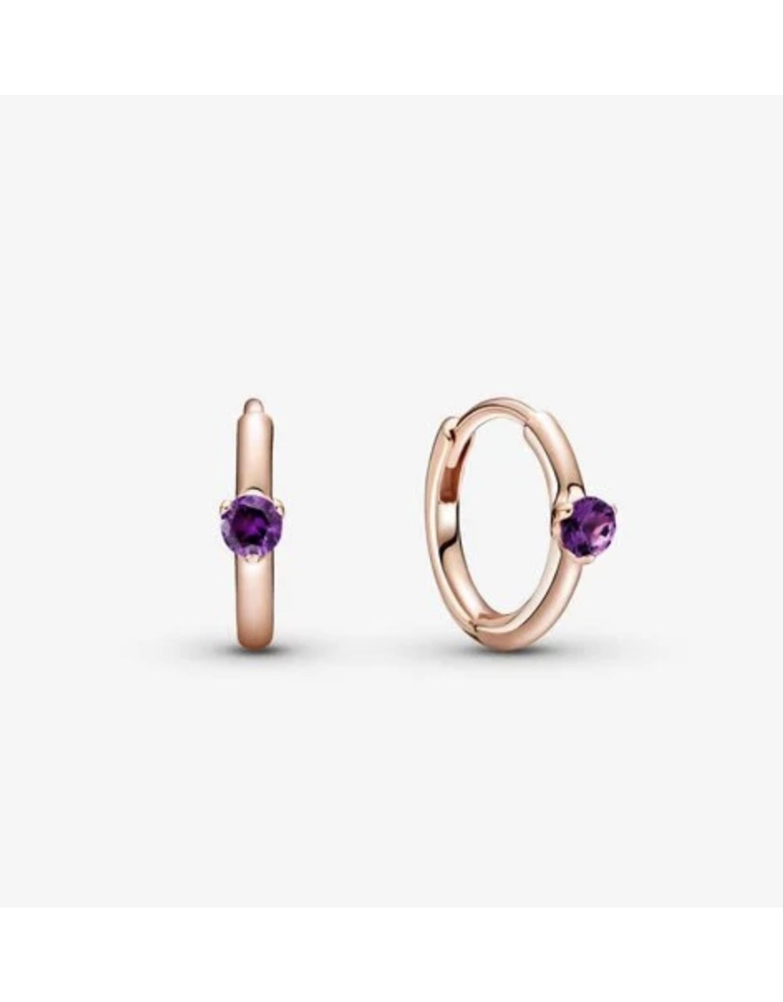 Pandora Pandora Earrings,289304C01, Solitaire Huggie Hoops, Purple Crystal, Rose Gold