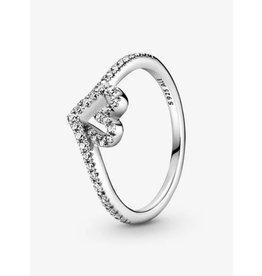 Pandora Pandora Ring,199302C01, Sparkling Wishbone Heart, Clear CZ