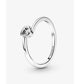 Pandora Pandora Ring,199267C02, Tilted Heart Solitaire, Clear CZ