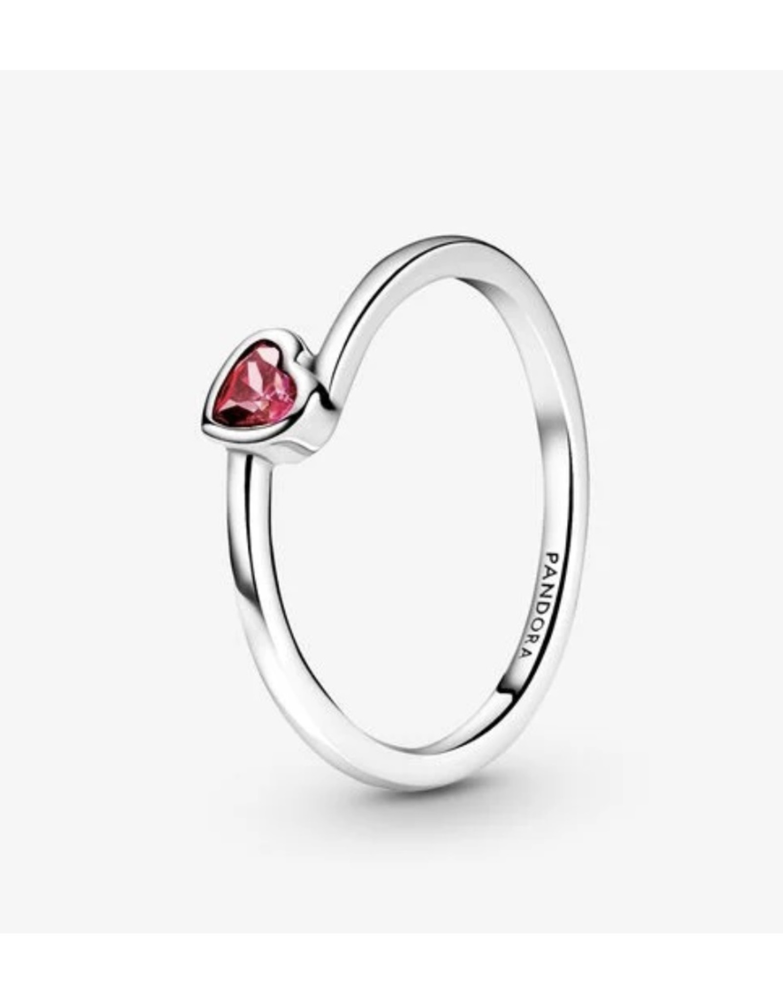 Pandora Pandora Ring,199267C01, Tilted Heart Solitaire, Red CZ