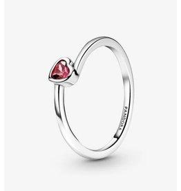 Pandora Pandora Ring,199267C01, Tilted Heart Solitaire, Red CZ