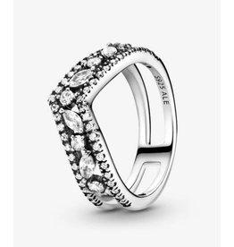 Pandora Pandora Ring,199095C01, Sparkling Marquise Double Wishbone