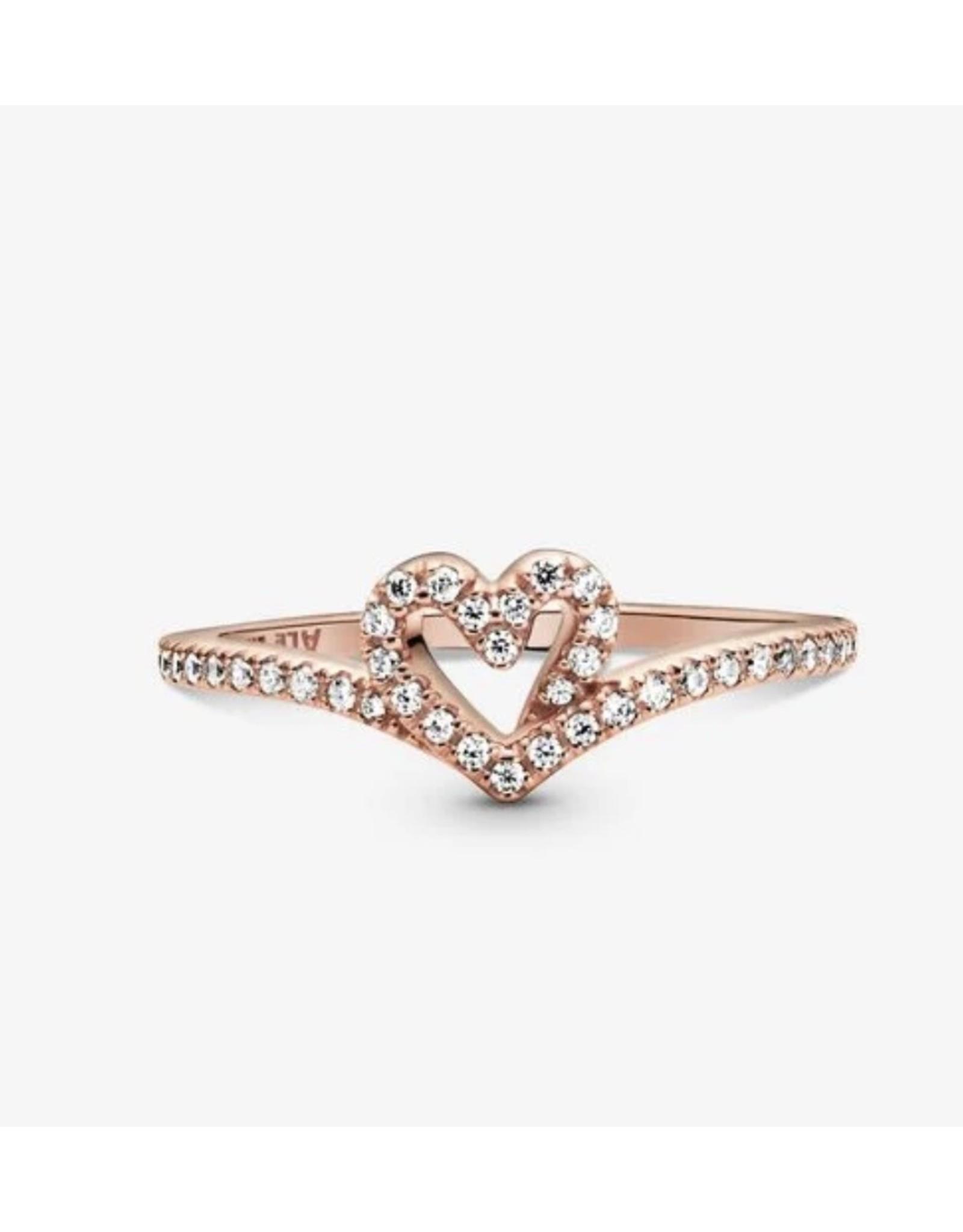Pandora Pandora Ring,189302C01, Sparkling Wishbone Heart, Rose Gold