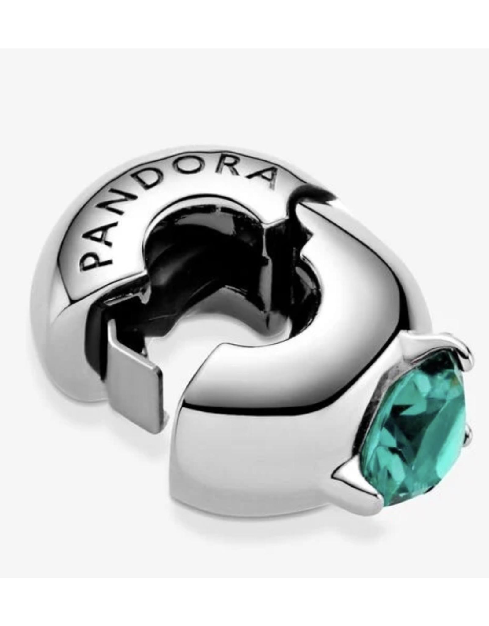 Pandora Pandora Clip799204C03,Round Solitaire, Green Crystal