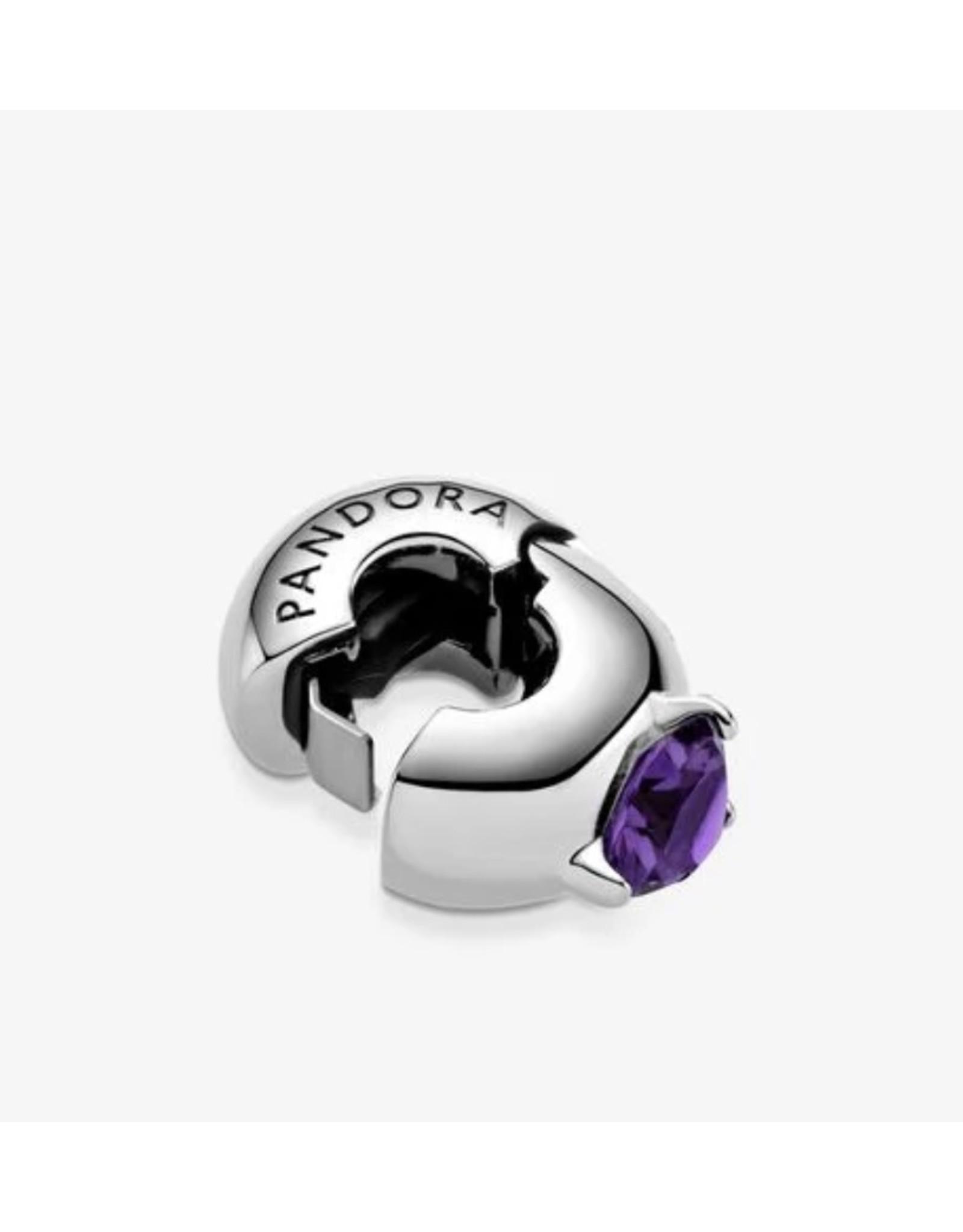 Pandora Pandora Clip,799204C02, Heart Solitaire, Purple Crystal