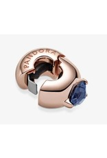 Pandora Pandora Clip,789203C02,Heart Solitaire, BLue Crystal, Rose Gold