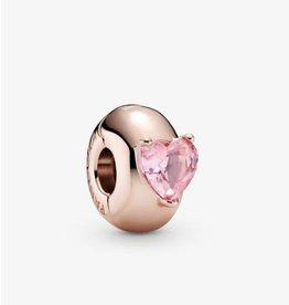 Pandora Pandora Clip,789203C01,Heart Solitaire, Pink Crystal, Rose Gold