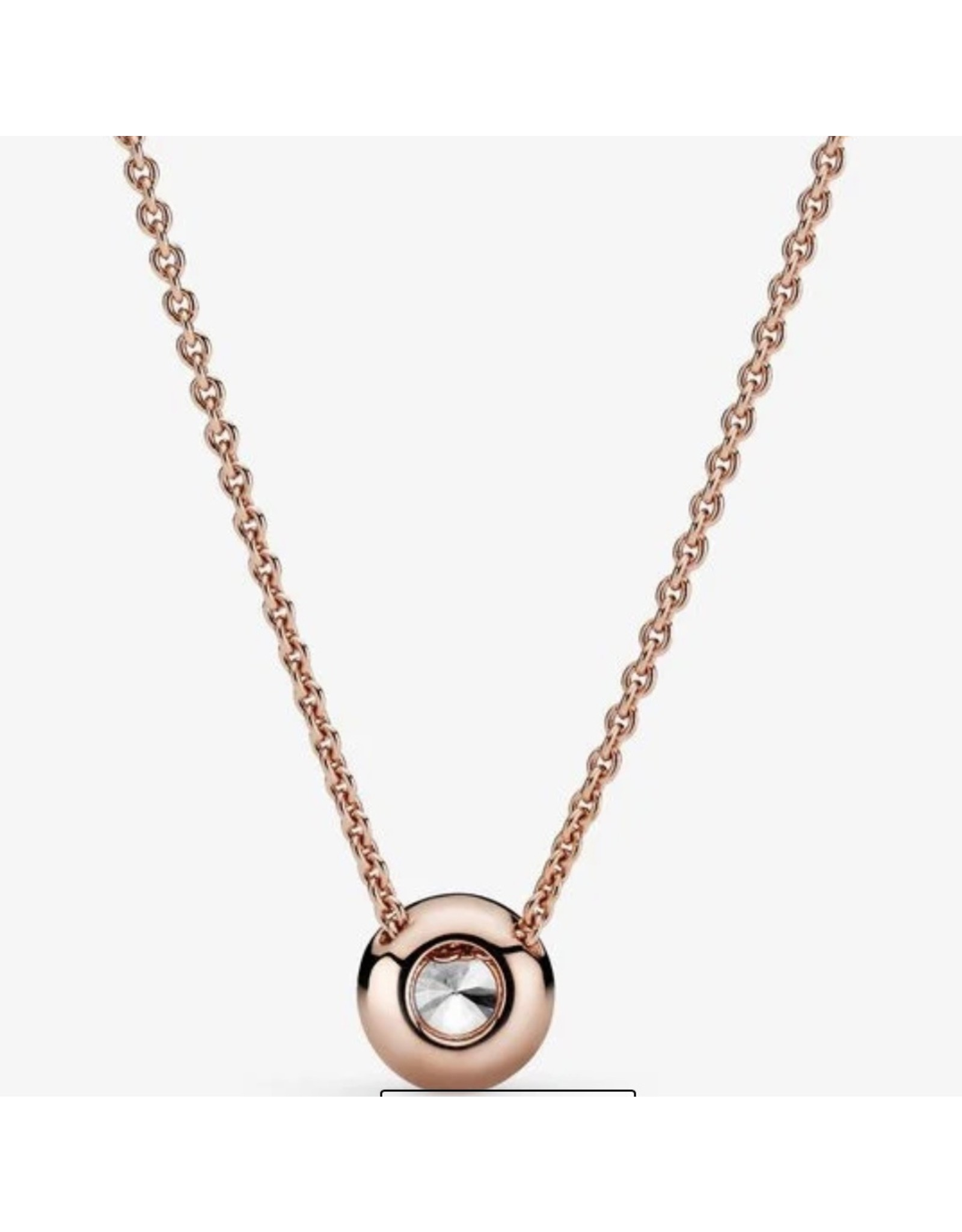 Pandora Pandora Necklace,386240CZ-45, Round CZ, Rose Gold