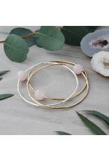 Glee jewelry Honest Bangle, Silver/Rose Quartz