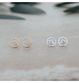 Glee jewelry Snow Cap Studs, Silver