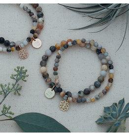 Glee jewelry Stackem Up Bracelets, Gold/Bamboo Leaf Agate