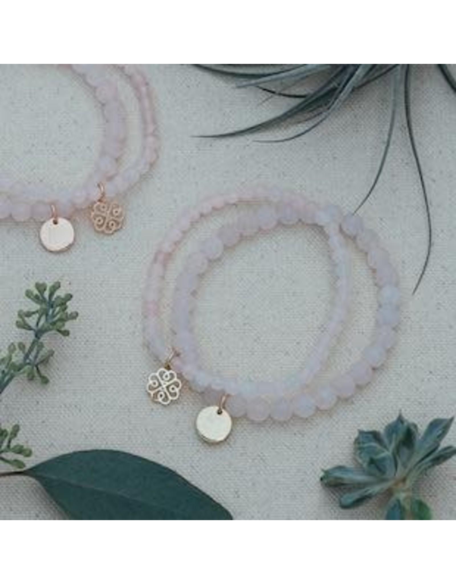 Glee jewelry Stackem Up Bracelets, Gold/Rose Quartz
