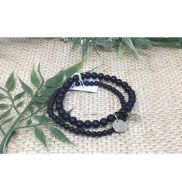 Glee jewelry Stackem Up Bracelets, Gold/Black Onyx