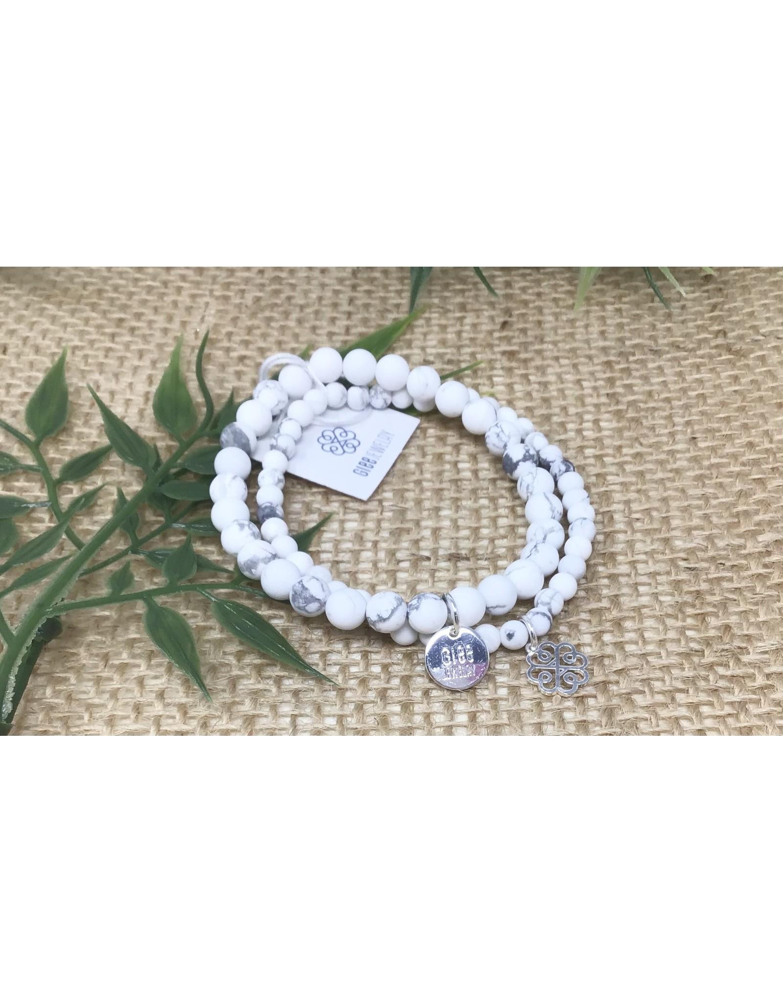 Glee jewelry Stackem Up Bracelets, Silver/Howlite