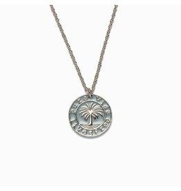 Pura Vida Medallion Necklace, Silver