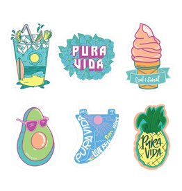 Pura Vida Sticker Sheet X6, Cool And Sweet