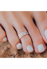 Pura Vida Triple Band Toe Ring, Silver