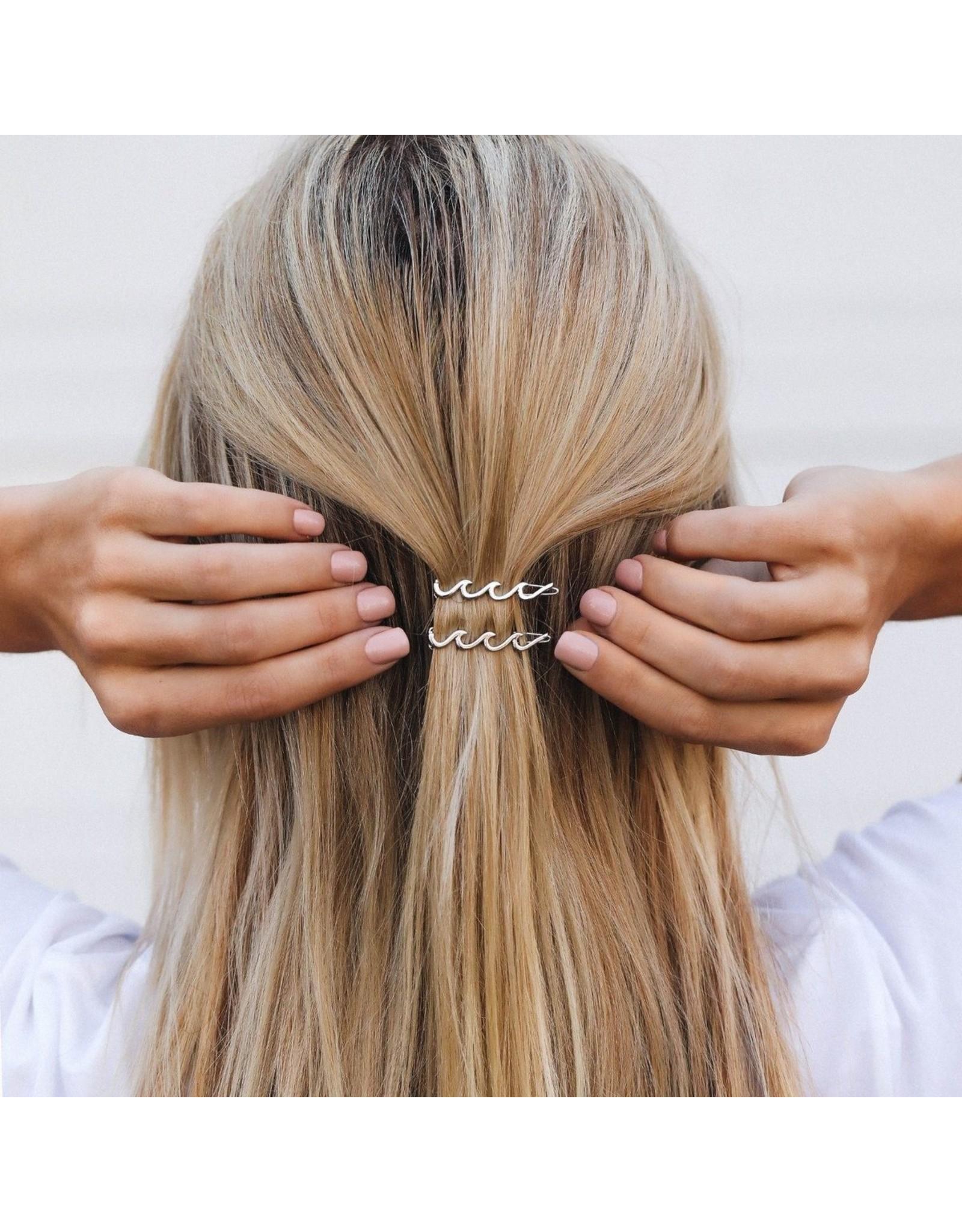 Pura Vida Wave Hair Barette, Silver