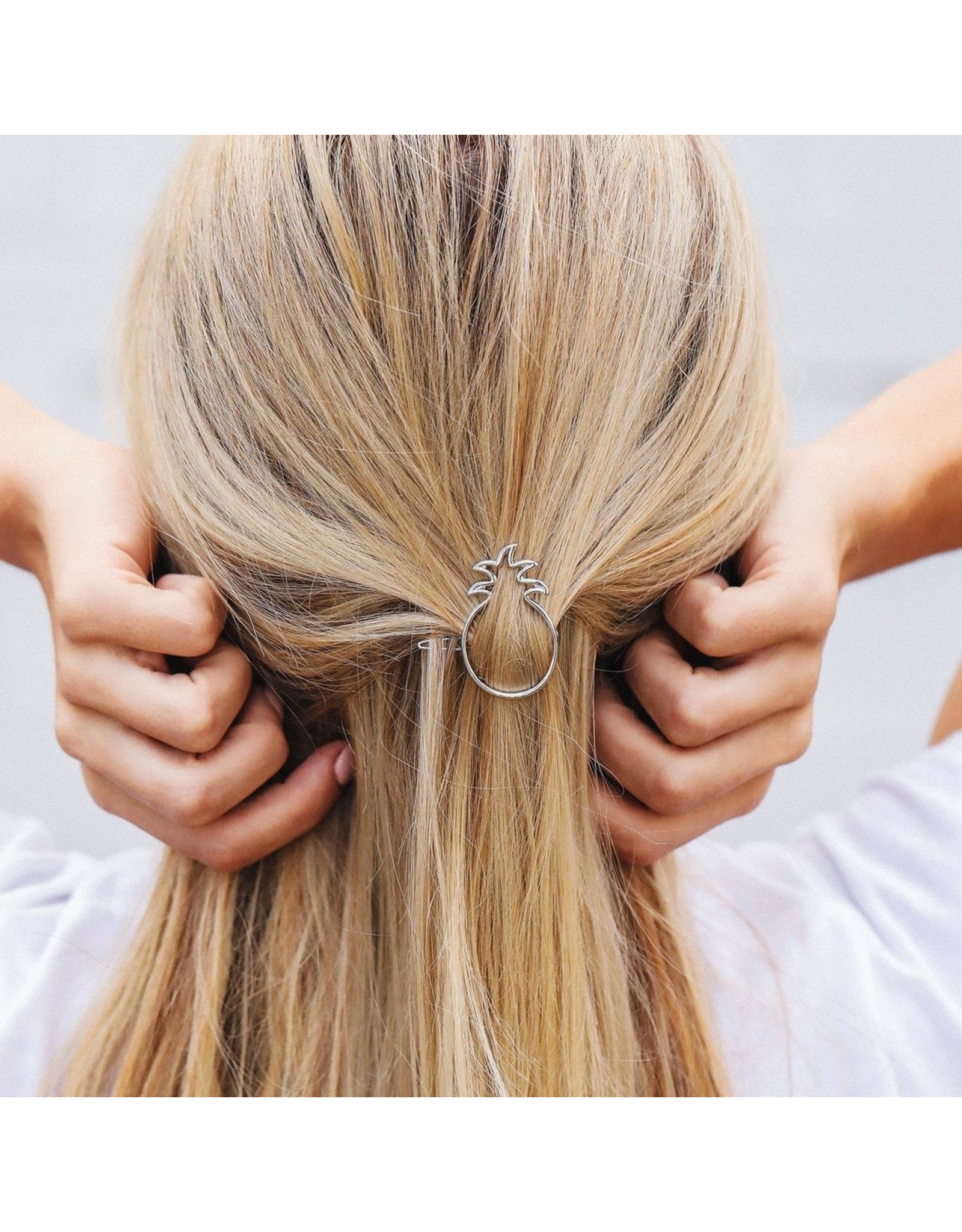 Pura Vida Pineapple Hair Barette, Silver