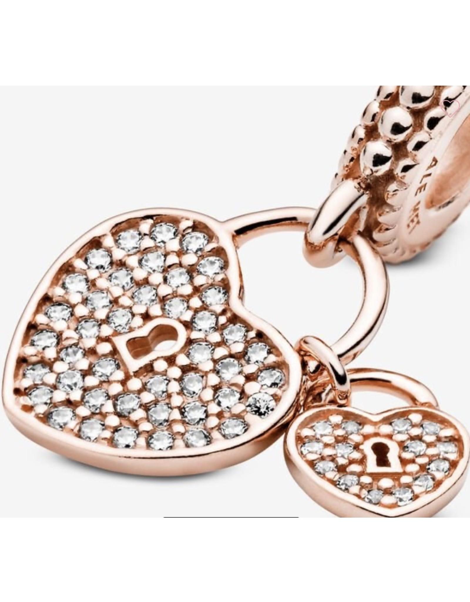 Pandora Pandora Charm,781807CZ,Heart Padlock Dangle, Rose Gold