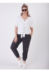 Button Front Knit Top, White