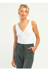 Henley Ribbed Body Suit, White