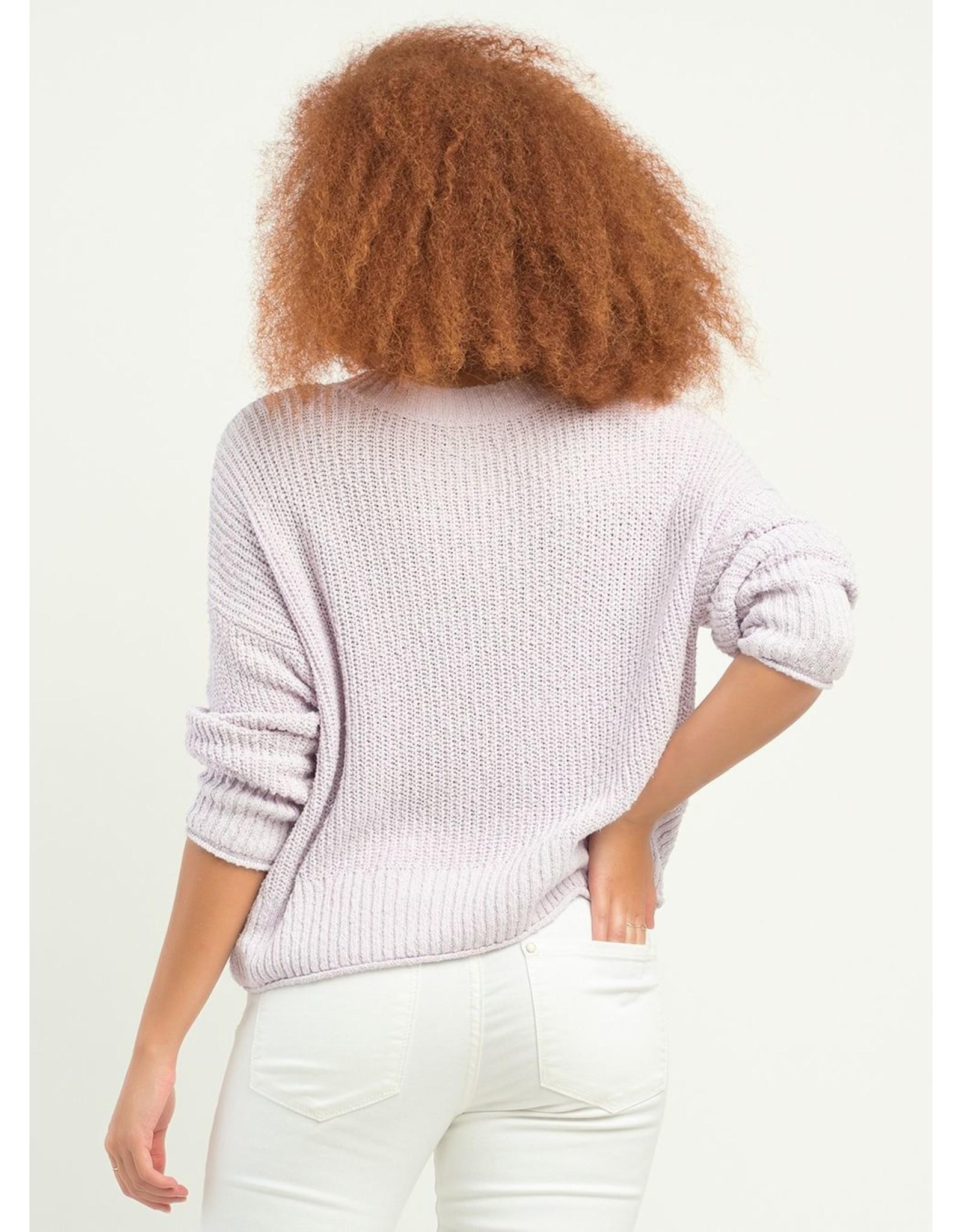 V-Neck Textured Sweater, Lavender