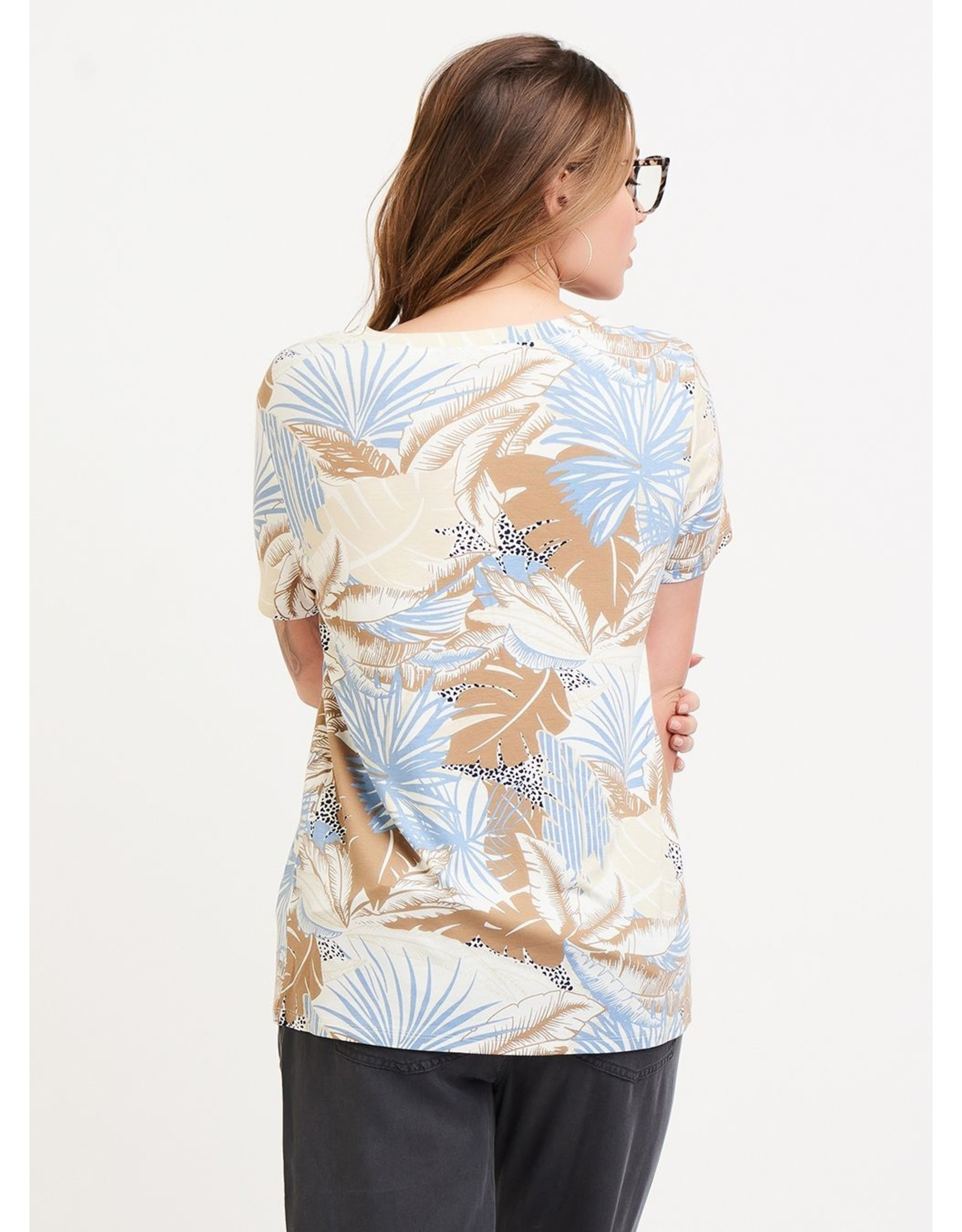 Basic V-Neck Tee, Island Jungle