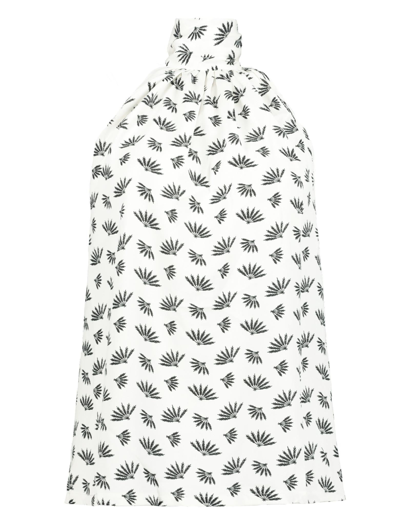 Claudeen Tie Neck Top, Black/White