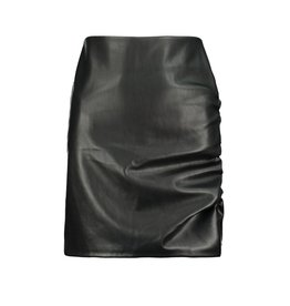 Side Ruche Faux Leather Skirt, Black