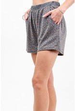 12PM By Mon Ami French Terry Animal Print Short, Charcoal