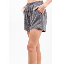 French Terry Animal Print Short, Charcoal