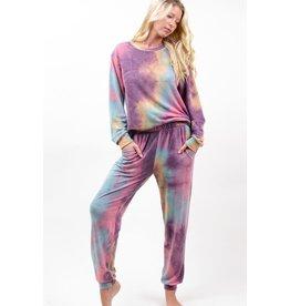 12PM By Mon Ami Tie Dye Jogger Pants, Purple/Jade