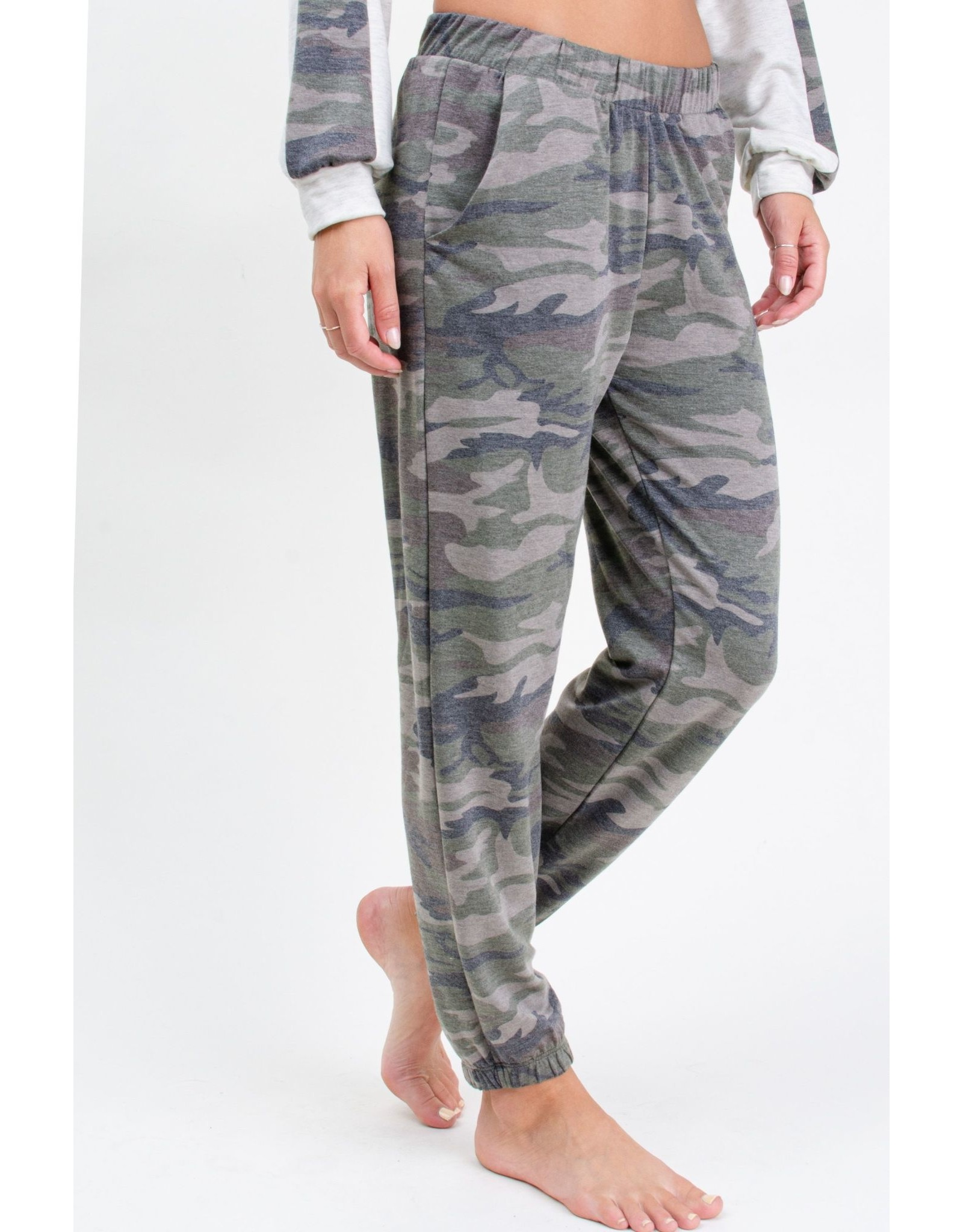12PM By Mon Ami French Terry Camouflage Print Jogger, Khaki