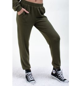 12PM By Mon Ami Lightweight Sweater Solid Jogger, Olive