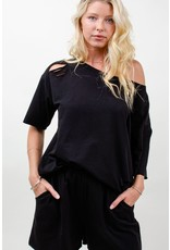 12PM By Mon Ami Cotton Jersey Distressed Top/Short Set, Black