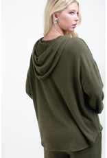 12PM By Mon Ami Lightweight Solid Sweater Hoodie, Olive