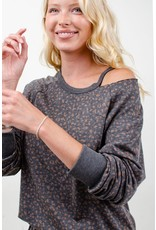 12PM By Mon Ami Animal Print Open Shoulder Top, Charcoal