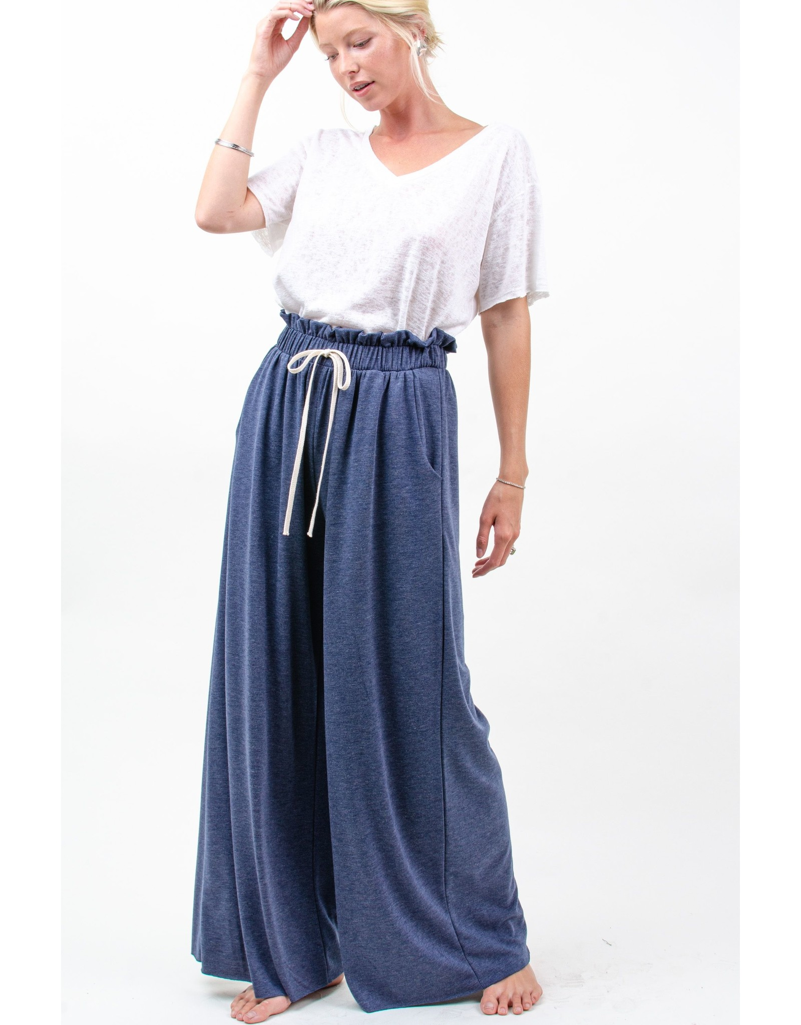 12PM By Mon Ami French Terry Solid Paperbag Waist Wide Leg Pants, Navy