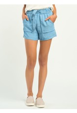 Elastic Waist Self Belted Tencel Short, Blue Wash
