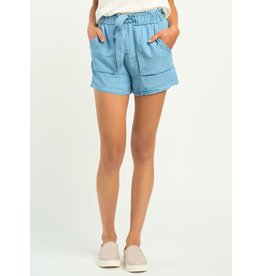 Elastic Waist Self Belted Tencel Short, Blue Wash