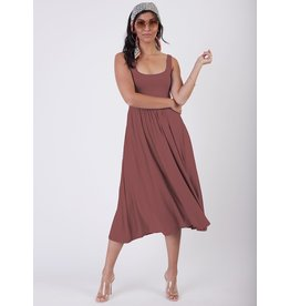 Sleeveless Banded Waist Knit Midi Dress, Dusty Rose