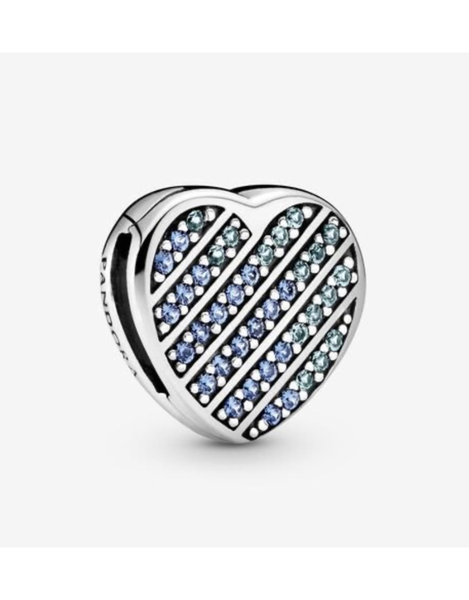 Pandora Pandora Charm,799346C01, Blue Pave Heart, Blue Crystal