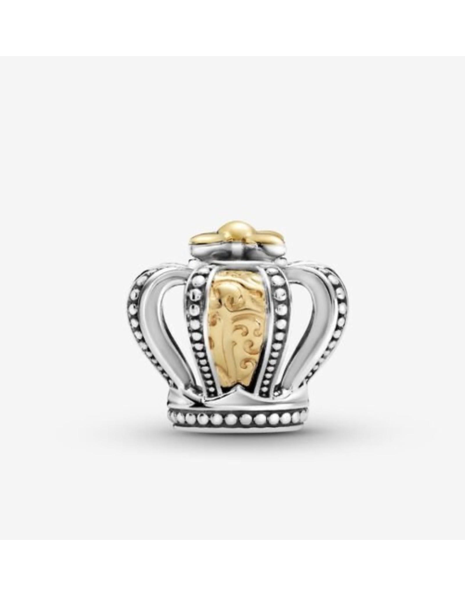 Pandora Pandora Charm,799340C00, Two-Tone Regal Crown, 14K Gold