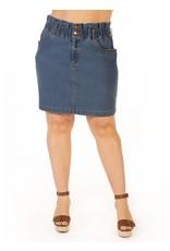 Elastic Paperbag Waist Denim Skirt, Blue Wash