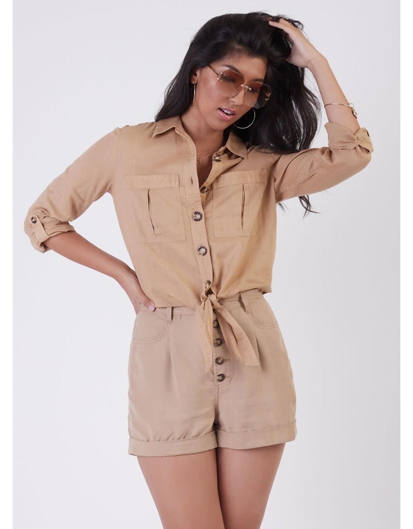 Long Sleeves Button Front Linen Shirt, Camel