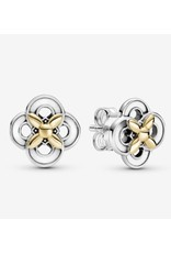 Pandora Pandora Earrings, 299349C00, Two-Tone Flowers,14K Glod